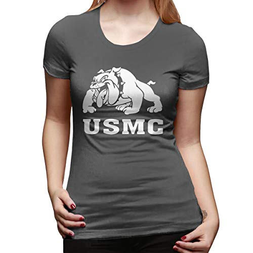 Usmc Marine Bulldog T-shirt Top - Marine Bulldog-USMC Womens Cool Short Sleeve T Shirt Novelty Sexy Tee Tops Deep Heather