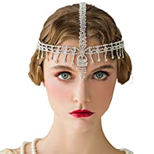 SWEETV The Great Gatsby Headpiece - Rhinestone 1920s Headband Flapper Hair Accessories for Costume Party