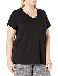 Hue Womens Short Sleeve V-Neck Black Tee Plus Size Pajama Top