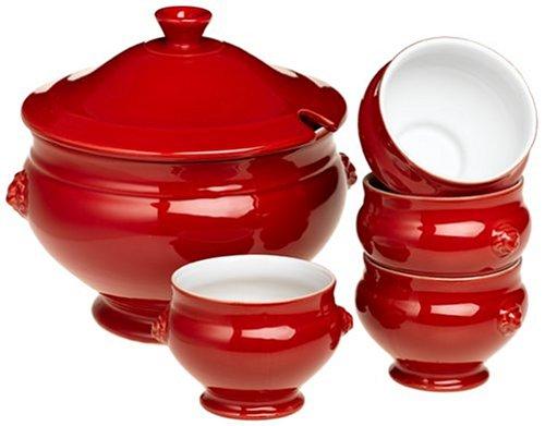 Emile Henry Provencal 5-Piece Lion's Head Soup Tureen Set, Cerise Red ()