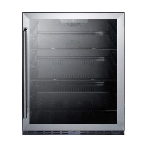 "Summit AL57GCSS 24"" ADA Compliant Commercial Compact Refrigerator with 4.8 cu. ft. Capacity Door Lock Frost Free Operation Door and Temperature Alarm in Stainless"