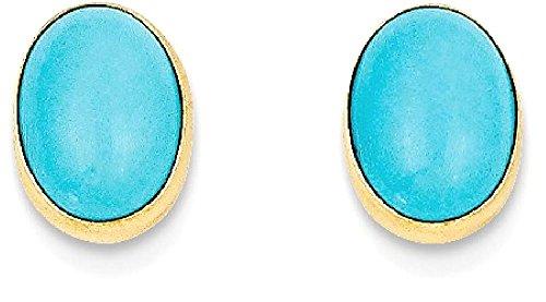 IceCarats 14k Yellow Gold Bezel Set Oval Turquoise Post Stud Earrings