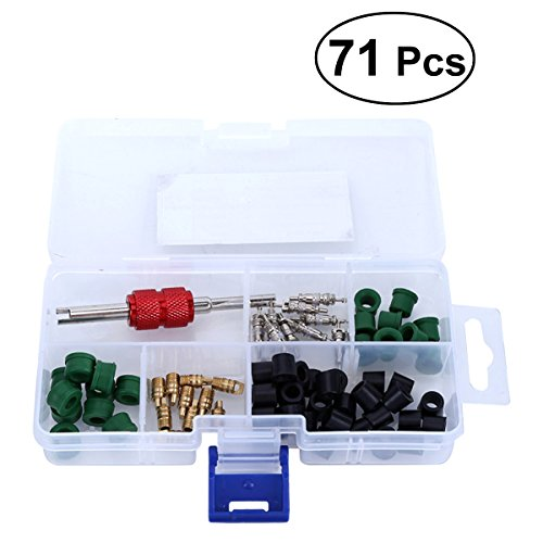 WINOMO 71Pcs A/C Air Conditioning Valve Core Accessories R12 R134a Refrigeration Valve Core Remover Installer Assortment Box Set Kit
