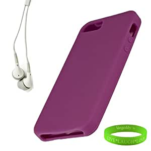Smartphone Accessories for iPhone 5 Silicon Skin in Neon Purple + Universal Earbuds