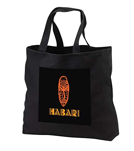 Alexis Design - Africa in Swahili - Image of African mask and Hello in Swahili on black background - Tote Bags - Black Tote Bag JUMBO 20w x 15h x 5d (tb_288848_3) by 3dRose