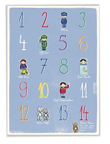 Poster mit Zahlen für Kinderzimmer und Kindergarten