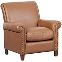 Pulaski DS-D030004-343 Traditional Roll Arm Accent Chair, 32.5 x 35.0 x 34.5, Cognac Brown