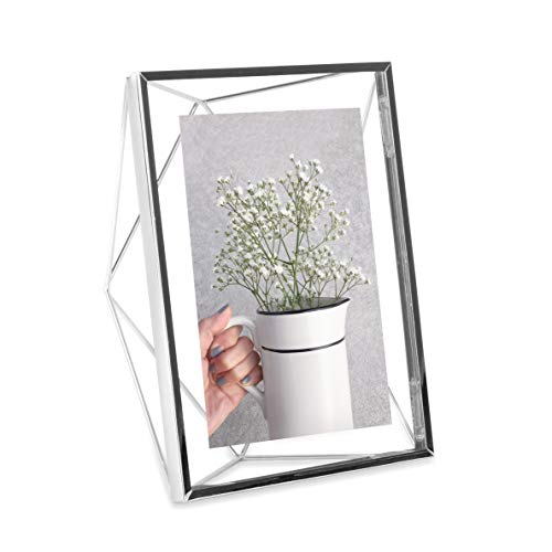 - Umbra Prisma Picture Frame, 5x7 Photo Display for Desk or Wall, Chrome