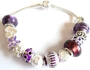 De flores Pandora/estilo Troll pulsera - cumpleaños Ideal/decorativo para Navidad - 20 cm bañado en plata pulsera de cierre - completa con un bonito diseño empaquetado en una bolsa regalo de organza