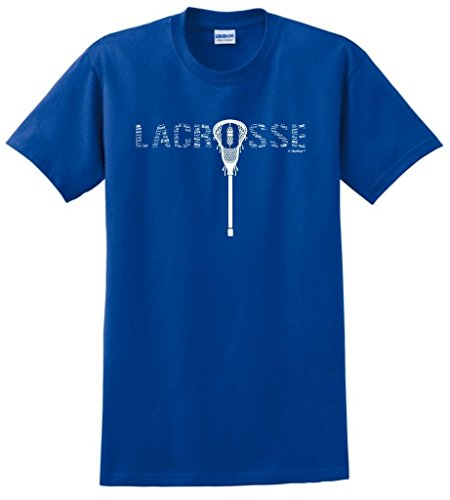 ft Lacrosse Word Collage Lacrosse Fan Gift T-Shirt Large Royal ()