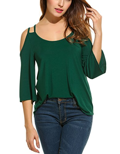 ACEVOG Women Shoulder Sleeve Blouse