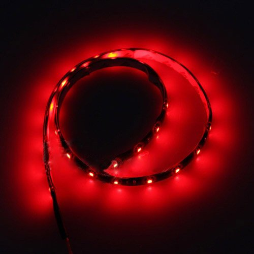 Tira 30 LED Impermeable 60CM Rojo 12V Motocicleta Coche Casa