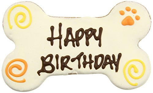 Pawsitively Gourmet 6 Inch HAPPY BIRTHDAY Bone WHITE Cookies for Dogs, Bulk