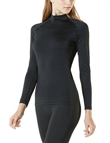 Compression Mock Neck - TSLA Women's Compression Long Sleeve T-Shirts Cool Dry Baselayer, Mock Neck(fut02) - Black, Small