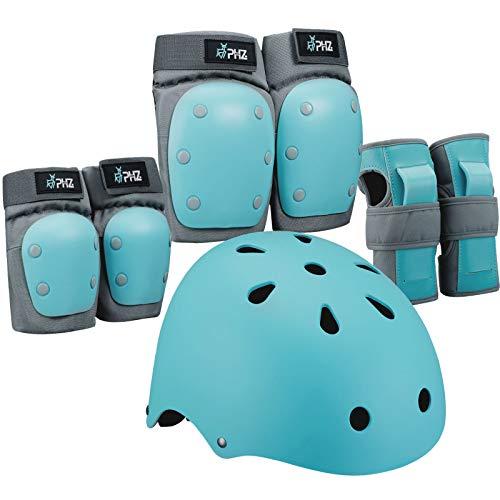PHZ. Kids Youth Bike Helmet, Toddler Helmet Adjustable for Boys Girls, Knee Pads Elbow Pads Wrist Guards Kids Protective Gear Set for Skateboard, Bike, Roller Skating, Cycling, Scooter, Rollerblade