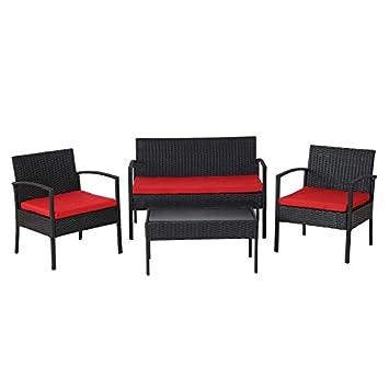 Salon de jardin en poly-rotin anthracite avec fauteuils, banc et ...