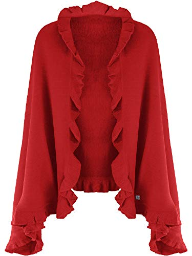- Red Knit Poncho Shawl With Ruffled Edge