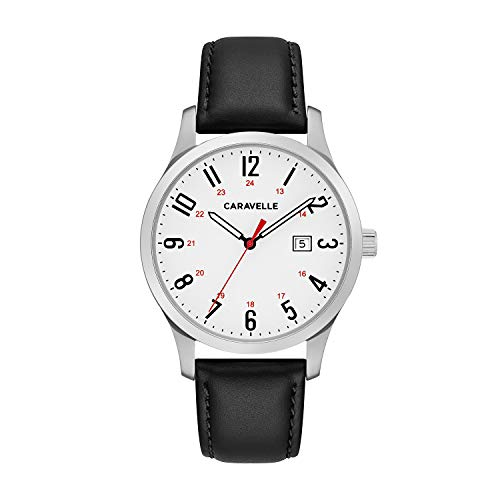 Caravelle Men's Quartz Stainless Steel and Leather Dress Watch, Color:Black (Model: ()