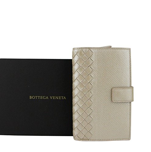 Bottega Veneta Intrecciato Beige Leather Shimmer Wallet 407276 2723