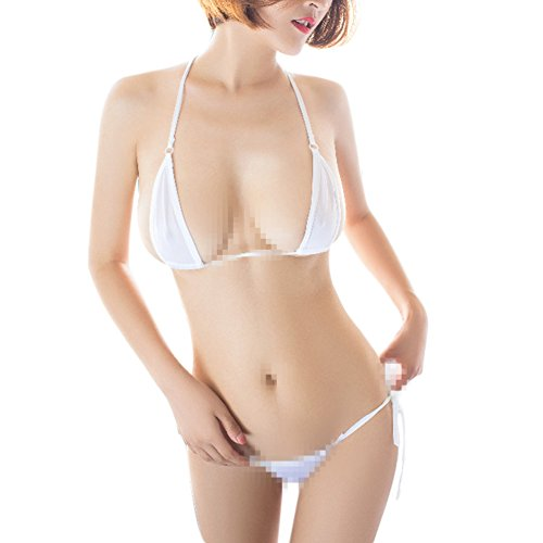 Women Brazilian Sheer Halterneck Lingerie G-String Micro Thong Tie Sides Teeny Mini Triangle Bikini Set Swimsuit