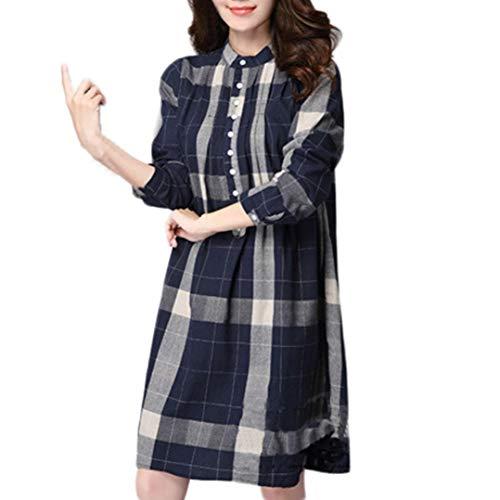 hiver Tops Lin en Xinantime Automne Chemisier Chemise Manches Coton Treillis Longues Grande Marine Taille Femme Femmes et dwIFvO