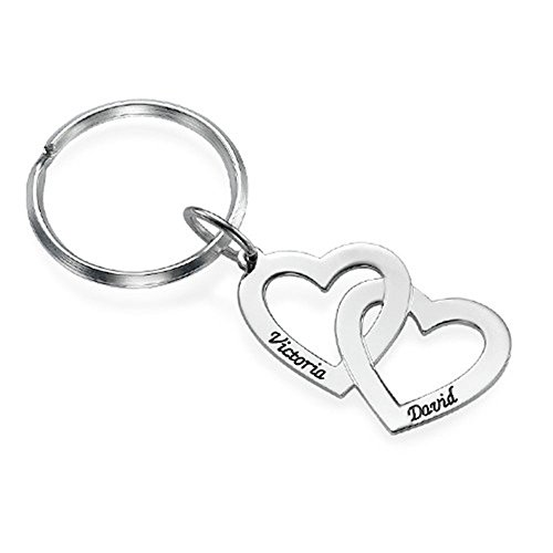 (Personalized Name Keychain Couple Two Heart Name Key Ring Custom Made with 2 Names - Silver)