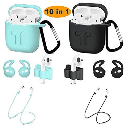 meiyasy 2 Pack Airpods case Cover, Airpods Accessory Kit, Airpods case and Apple Airpods Skin with Anti-Lost Airbag Belt, Airpods Watch with Stand, Airpods Ear Hook (Black+Green)