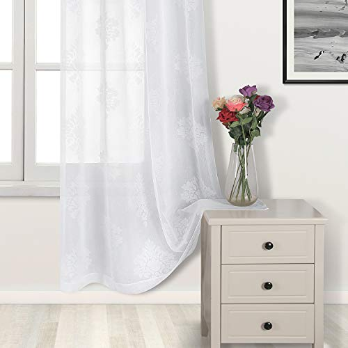 DWCN White Burnout Damask Sheer Curtains – Faux Linen Semi Sheer Voile Bedroom and Living Room Curtains, 52 x 84 inches Long, Set of 2 Grommet Curtain Panels