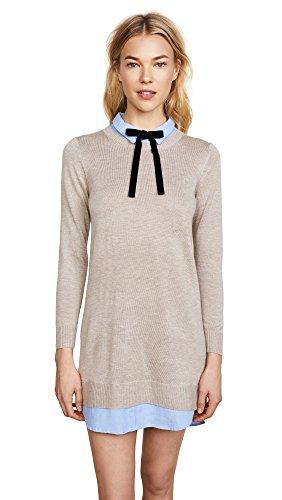 English Factory Women's Combo Shirtdress, Taupe/Oxford Blue, X-Small