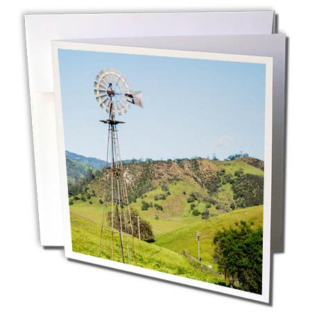 Windmill Countryside (3dRose Danita Delimont - Agriculture - California, old windmill in the countryside. - 12 Greeting Cards with envelopes (gc_278485_2))