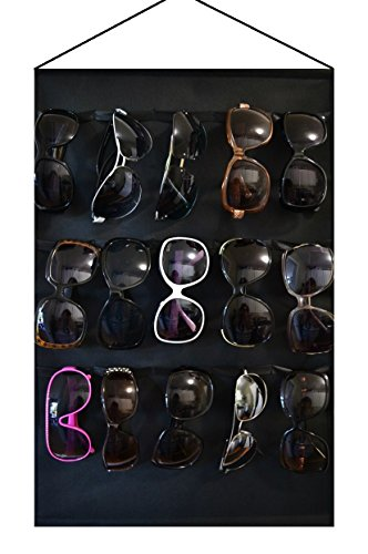 Eyeglass sunglasses organizer for 15 glasses, Black, storage, display hanging on wall or - Wall Sunglasses Display