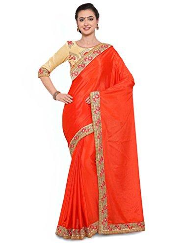 Saree Solid Indian Satin Export Orange Colors Handicrfats cqcwvOU7