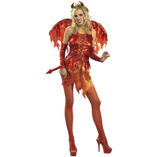 Secret Wishes Women's Enchanting Creature Adult Devil On Fire Costume, Red, Small]()