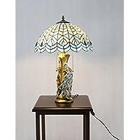 FixtureDisplays Tiffany Style Peacock 2 Lights Desktop Lamp 16-Inch Shade15720-FBA