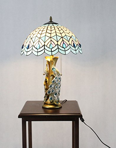 FixtureDisplays Tiffany Style Peacock 2 Lights Desktop Lamp 16-Inch Shade15720