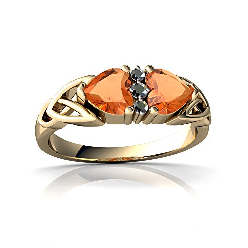 (14kt Yellow Gold Fire Opal and Diamond 5mm Heart Celtic Trinity Knot Ring - Size 9)