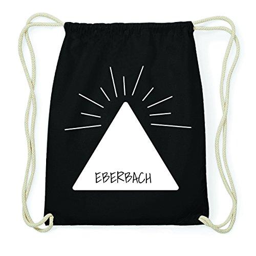 JOllify EBERBACH Hipster Turnbeutel Tasche Rucksack aus Baumwolle - Farbe: schwarz Design: Pyramide