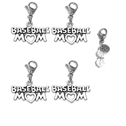 Hidden Hollow Beads Set of 4 Clip On Charms, Bag, Purse, Handbag, Message, Keychain, Zipper Pull, Bracelets, Necklaces, Jewelry (Baseball Mom)