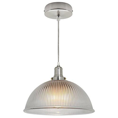 Antique Silver Vintage Pendant Light Retro Glass Ceiling Light Shade