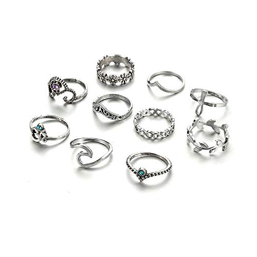 Ring Fashion Rhinestone Flower (YOUGKING Vintage Knuckle Ring Set Stackable Rings Rhinestone Finger Rings Punk Ring for Women Girls (C :10 Pieces/Set))