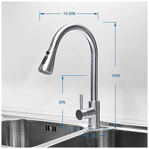 Kitchen Rogsfn Modern High Arc Commercial Single Level Bar Faucet Pull Down Stainless Steel 1 Handle Brushed Nickel RV Kitchen… modern sink faucets