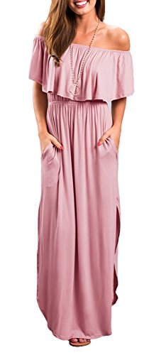 (LILBETTER Womens Off The Shoulder Empire Waist Maxi Dresses Long Dresses with Pockets (Dusty Pink S))