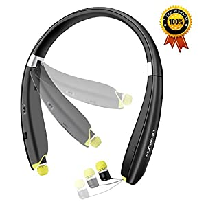 [2017 New Design] NEXGADGET Bluetooth Headphones, V4.1 Wireless Bluetooth Neckband Headset (18 Hours Talk Time), Foldable Design with Noise Reduction Retractable In-ear Earbuds