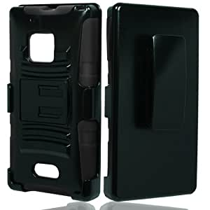 For Nokia Lumia 928 Belt Clip Holster Hybrid Stand Cover Case with ApexGears Stylus Pen (Black)
