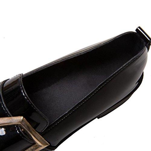 Elevin (tm) 2018vrouwen Mode Vintage Retro Britse Stijl Gesp Lakleer Enkele Platte Schoenen Zwart