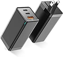 USB C Charger, Baseus 65W 3 Port PD 3.0 [GaN Tech] Type C Fast Charger Adapter Power Delivery Foldable Adapter, USB Wall...