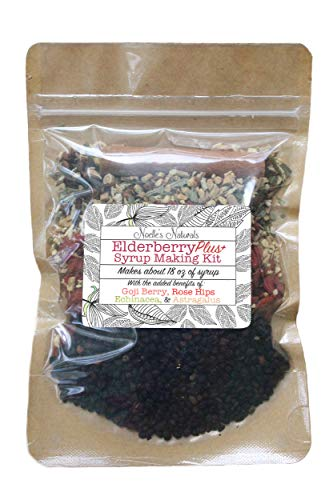 Elderberry Plus+ Syrup Making Kit - Makes 18oz - DIY - Easy to make at home - Just Add Your Own Syrup - Black Elderberries - Goji Berries - Astragalus - Rose Hips - Cloves - Ginger - Cinnamon