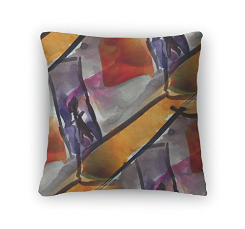 Gear New Green Throw Pillow, 16x16, Watercolor Purple Yellow