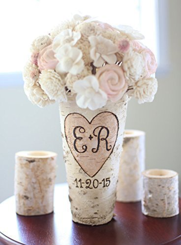 Personalized Birch Vase Rustic Custom Wedding Bridal Shower Christmas Gift Wedding Party Bridesmaids