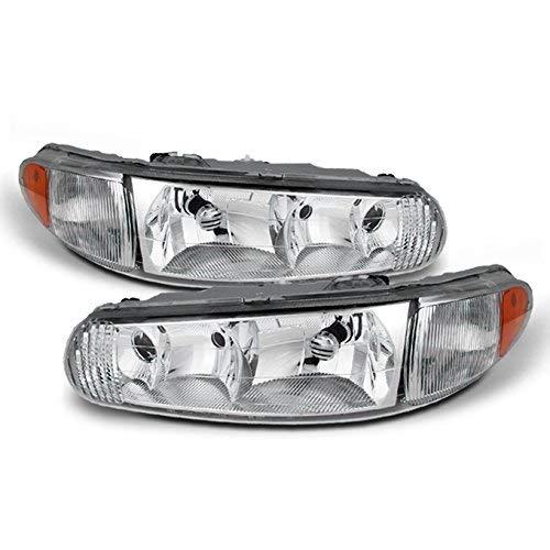For Buick Century/Regal OE Replacement Chrome Bezel Headlights Driver/Passenger Head Lamps Pair -